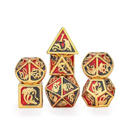 Hymgho Metal Dragon Dice (Solid - Gold w/Red-Black )