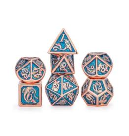 Hymgho Metal Dragon Dice (Solid - Copper w/Light Blue)
