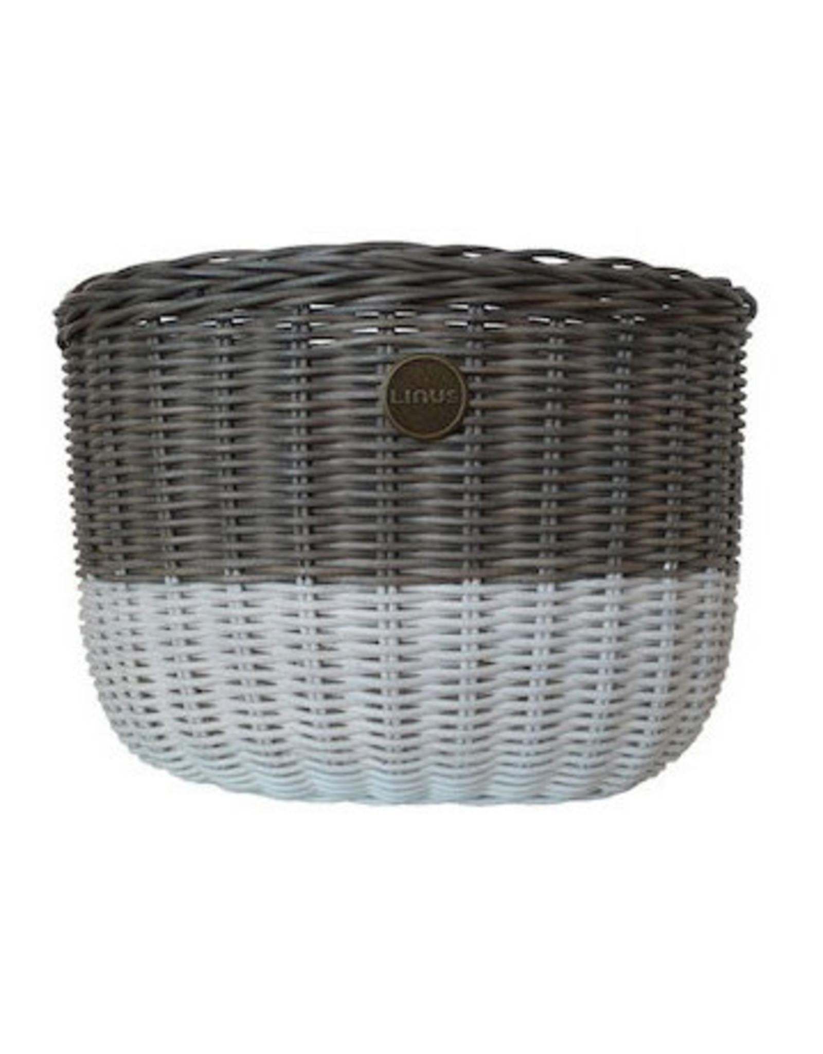 Linus LINUS, Oval Basket Rattan, Grey/White