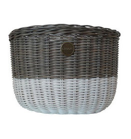 Linus LINUS, Oval Basket Rattan, Grey/White