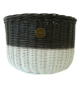 Linus LINUS, Oval Basket Rattan, Brown/White