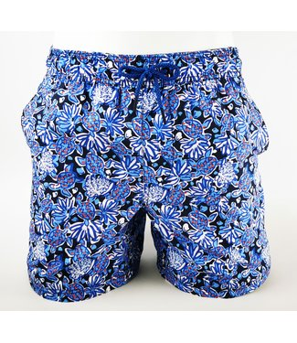 POINT ZERO Printed Signature Board Short Blue Turtle Print
