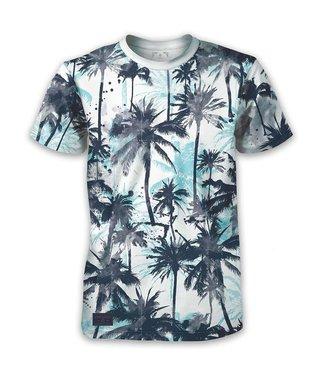 POINT ZERO Blue Palm Print T-Shirt