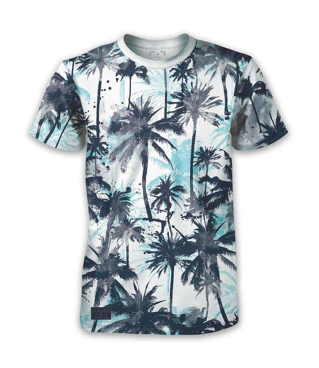 Blue Palm Print T-Shirt