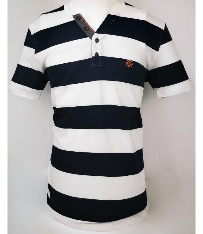 Striped V Neck Henley