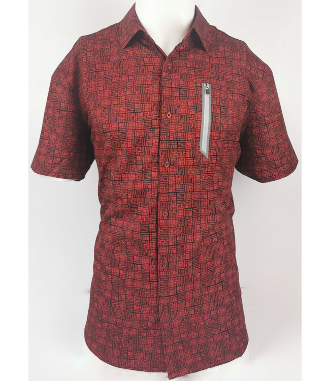 Red and Black Block Button Down Short Sleeve ShirtPZ Motion Performance
