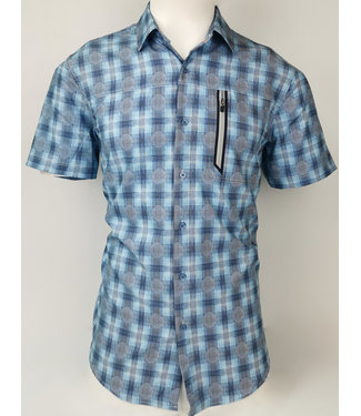POINT ZERO Blue Plaid circles Print Button Down Short Sleeve Shirt
