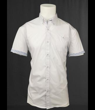POINT ZERO White Short Sleeve Shirt contrast cuffs