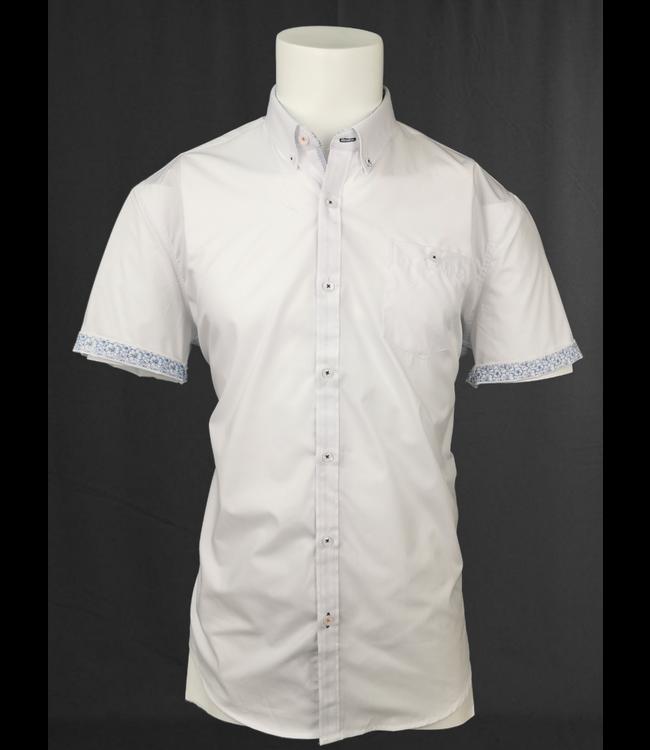 White Short Sleeve Shirt contrast cuffs