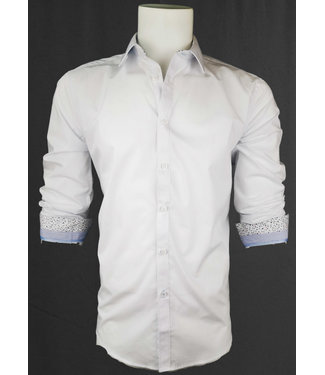 POINT ZERO White Long Sleeve Shirt contrast cuffs