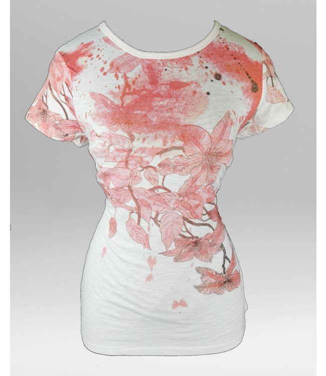 Pink Floral Crew T