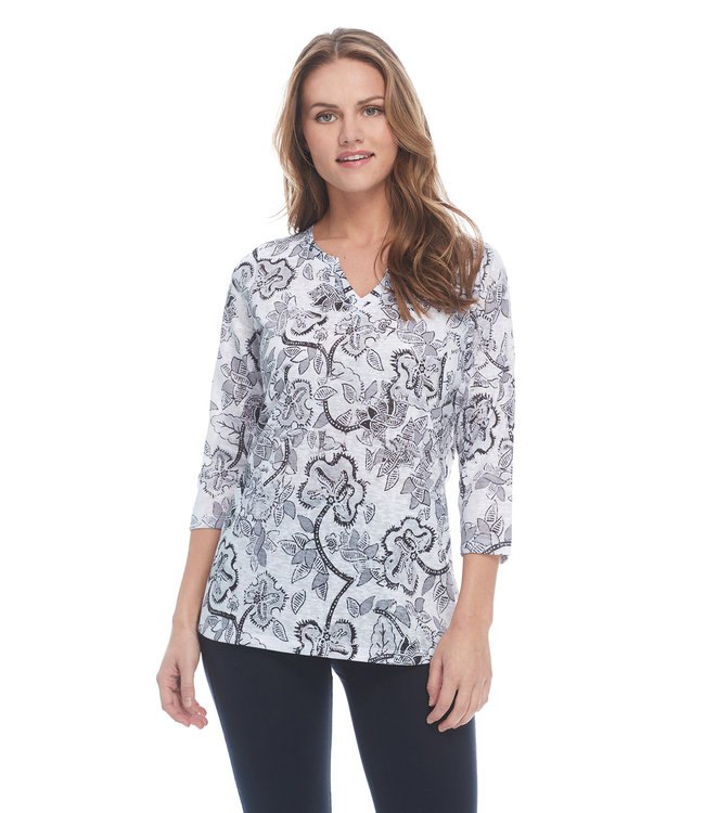 SPORTY FLORAL NOTCHED CREW TOP