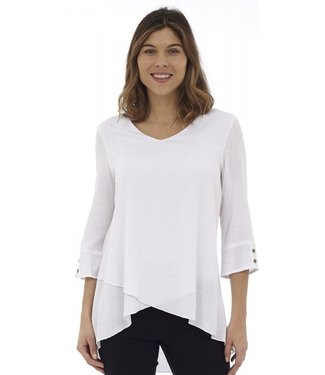DKR Apparel 3/4 Sleeve V-Neck Tunic Top with Tulip Hem and Double Button Detail on Sleeve