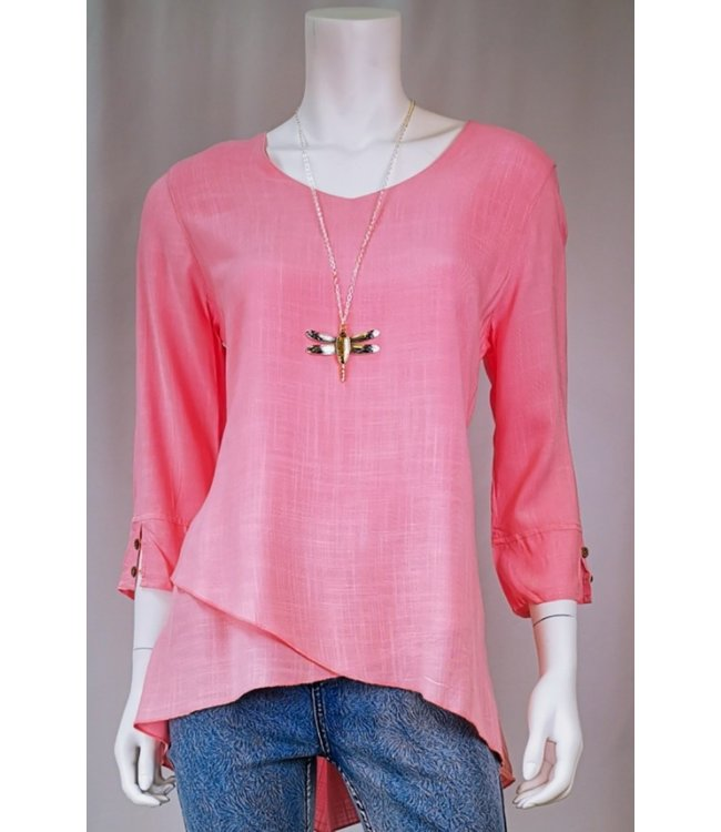 3/4 Sleeve V-Neck Tunic Top with Tulip Hem and Double Button Detail on Sleeve
