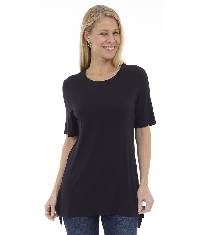 Short Sleeve Top with Side Slits and High-Low Hem