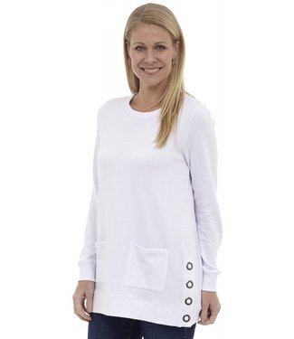 DKR Apparel Long Sleeve Crew Neck Tunic Top with Side Snap Button Details and Pockets
