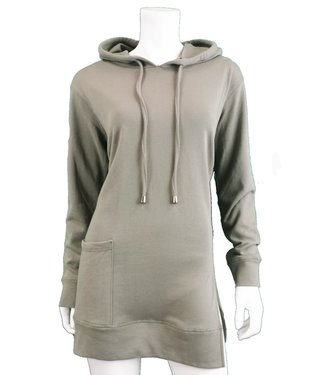DKR Apparel Long Sleeve Hooded Tunic Top with Pocket and Side Slit Detail