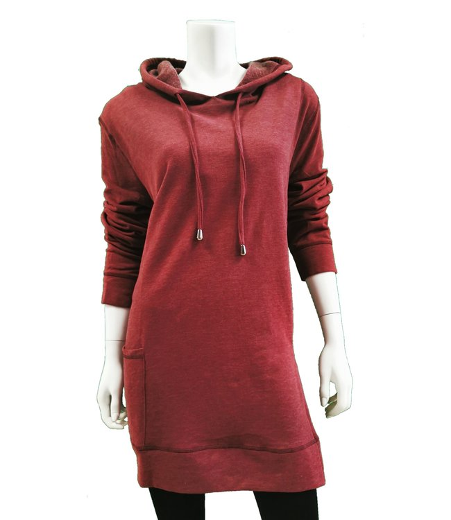 Long Sleeve Hooded Tunic Top with Pocket and Side Slit Detail
