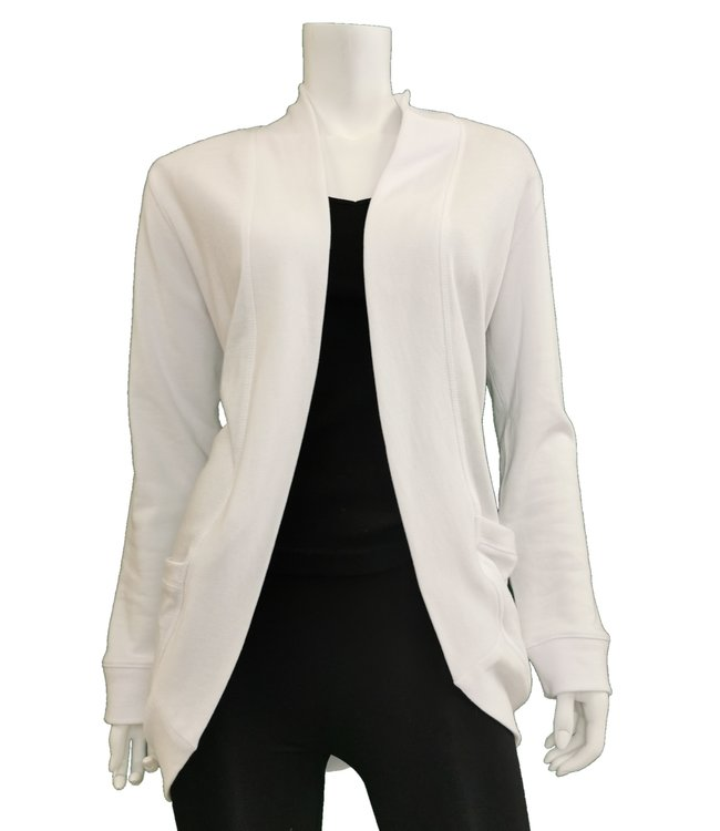 Long Sleeve Scoop Back Open Cardigan with Pockets