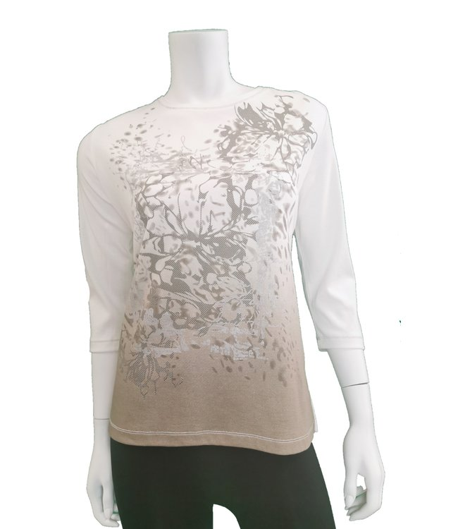 3/4 Sleeve Abstract Printed Top with Rhynstone details