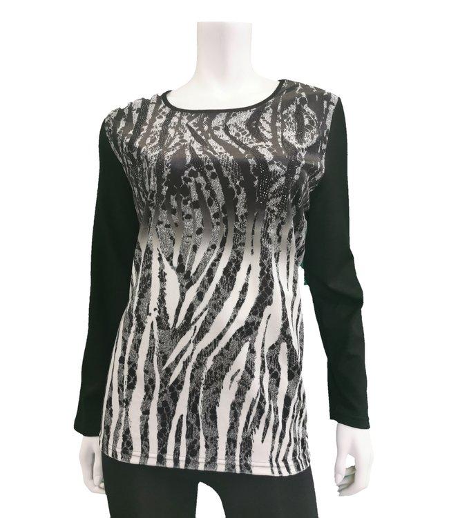 Full Sleeve Zebra Print top with rhinestone details