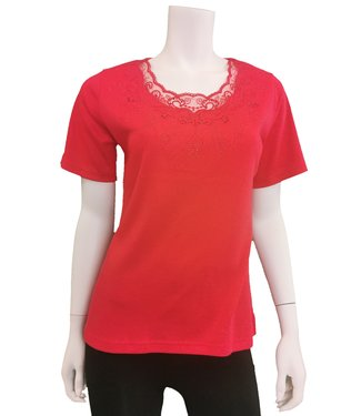 Nu Look Fashions Vibrant Red top with rhinestone details