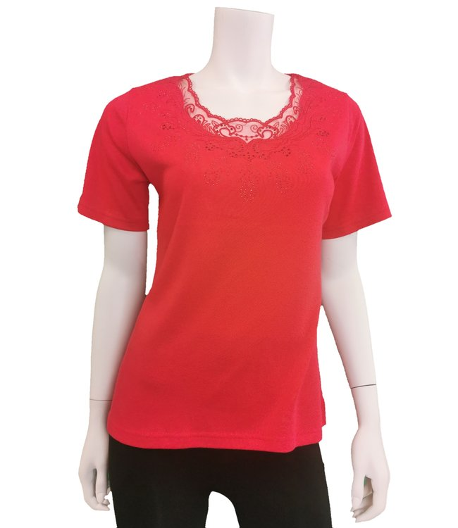 Vibrant Red top with rhinestone details