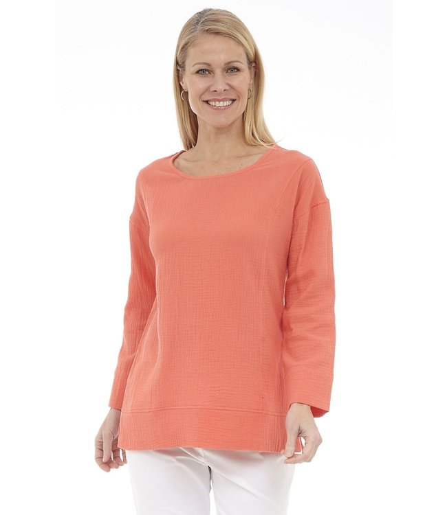 Long Sleeve Scoop Neck Top with Cut & Sew Details