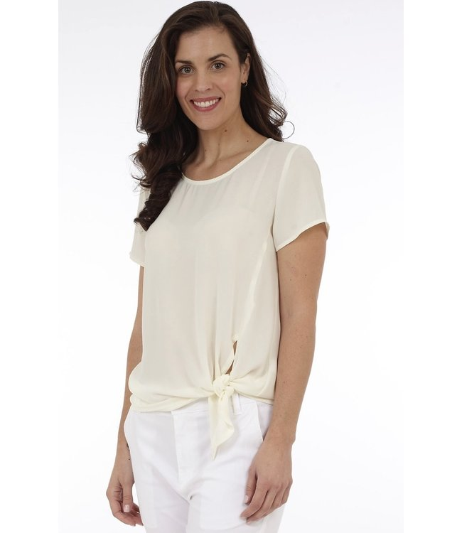 Short Sleeve Top with Front Side Tie Detail
