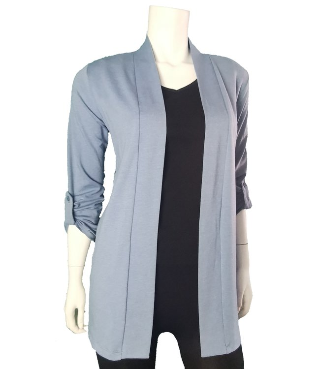 Roll-Up Long Sleeve Open Cardigan with Pockets