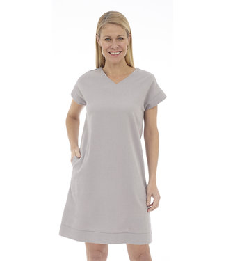 DKR Apparel Short Sleeve V-Neck Dress with Back Cut-Out Detail and Pockets