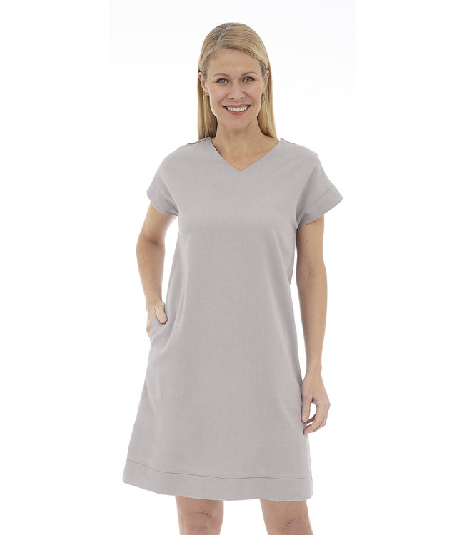Short Sleeve V-Neck Dress with Back Cut-Out Detail and Pockets