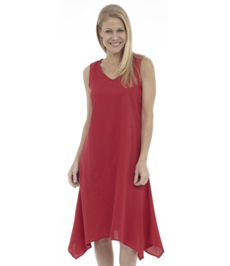 DKR Apparel Sleeveless V-Neck Draped Asymmetrical Midi Dress with Cut & Sew Details