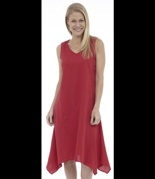 Sleeveless V-Neck Draped Asymmetrical Midi Dress with Cut & Sew Details