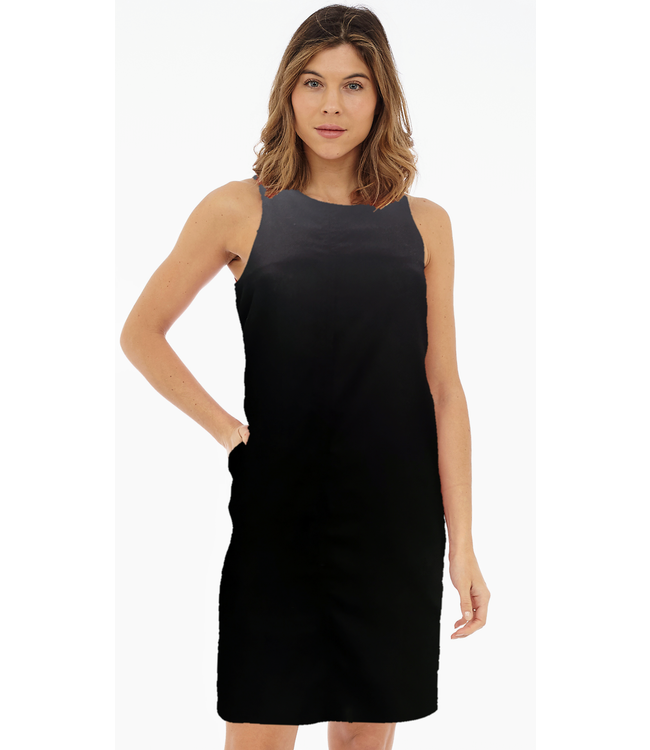 Sleeveless Dress with Front & Back Centre Seam, Back Neck Keyhole and Pockets