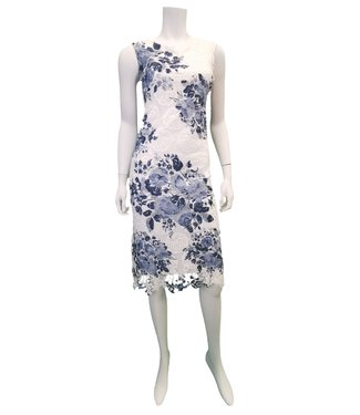 Nu Look Fashions Embroidered Blue and White Dress