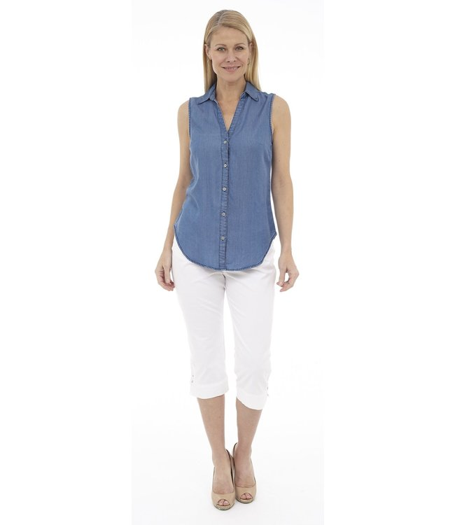 Sleeveless V-Neck Button Up Top with Collar