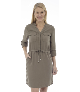 DKR Apparel Roll-UpLong Sleeve V-Neck Cargo Dress with Waist Drawstring and Pockets