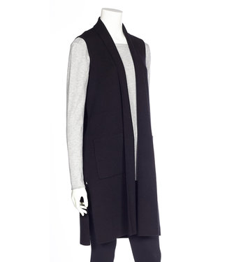 DKR Apparel Sleeveless Long Vest with Side Slits and Pockets