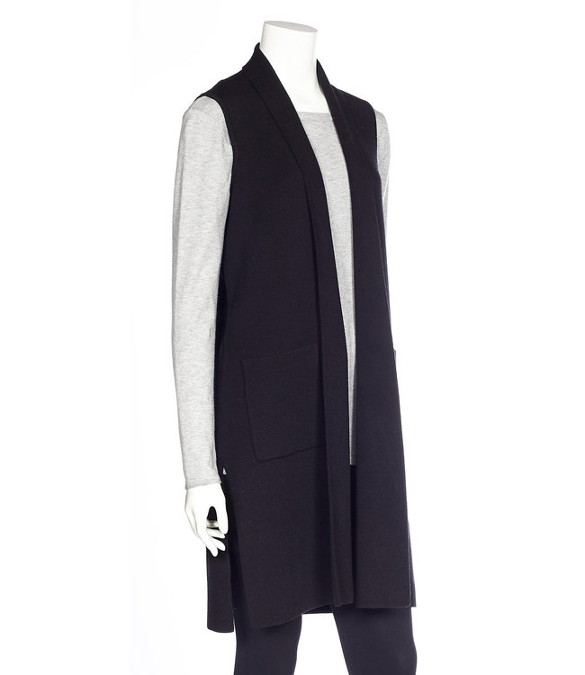 Sleeveless Long Vest with Side Slits and Pockets