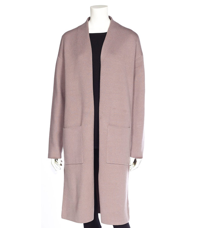 Long Body Open Cardigan with Patch Pockets