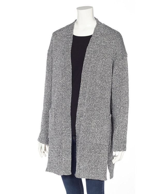 Long Sleeve Loose Fit Open Cardigan with Pockets