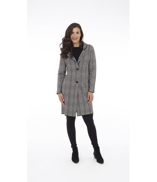 DKR Apparel Houndstooth Plaid Double Knit Jacket with Side Seam Pockets