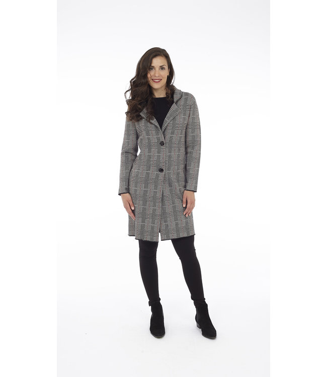 Houndstooth Plaid Double Knit Jacket with Side Seam Pockets