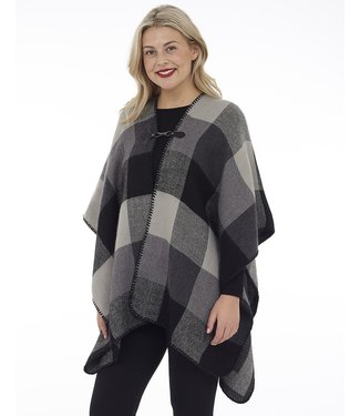 DKR Apparel Cape with Grey Check and Metal Closure