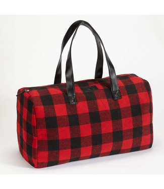 DKR Apparel Buffalo Check Duffle Bag with Inner Pockets