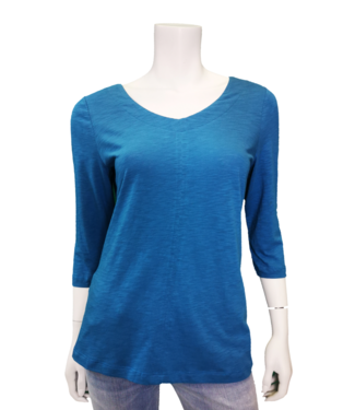 FDJ FRENCH DRESSING SOLID V NECK 3/4 SLEEVE TOP