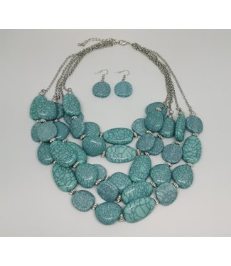 KENNETH BELL TURQUOISE STONE NECKLACE W/ EARRINGS