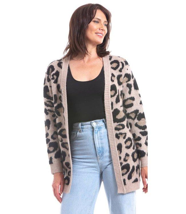 Leopard Print Open Cardigan Short