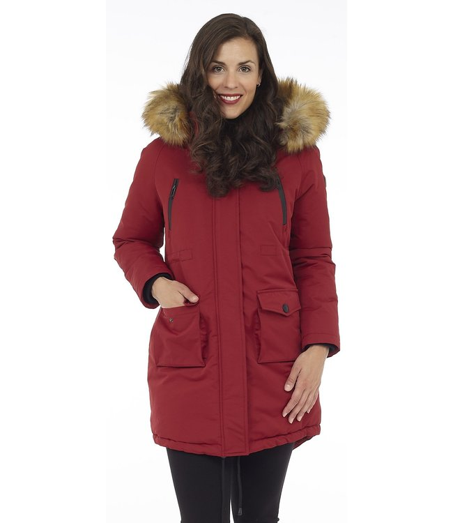 Mid-Length Parka with Removable Faux Fur and Detachable Hood